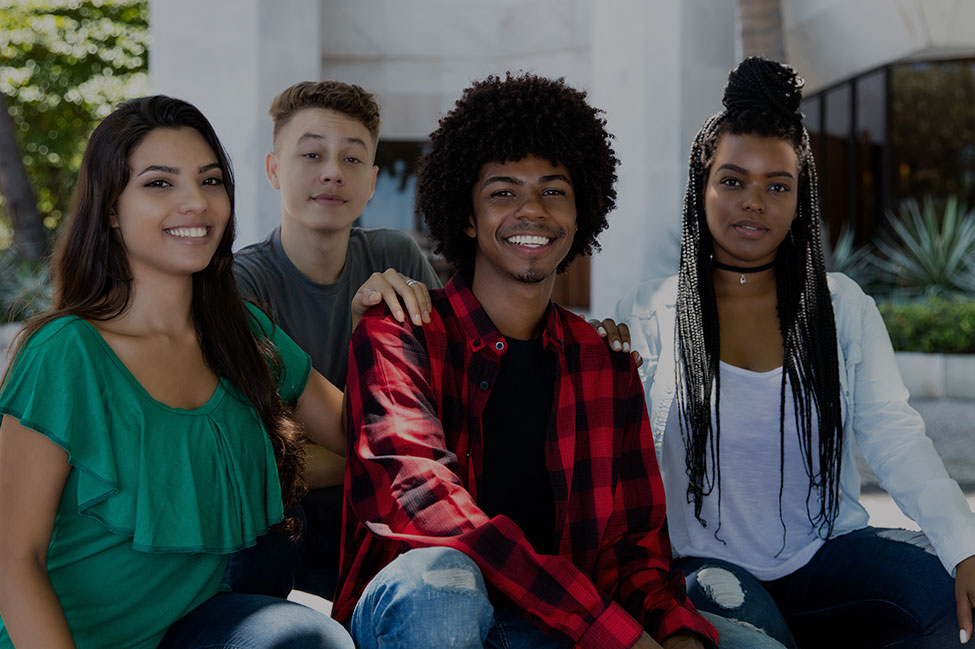 Group of teenagers smiling